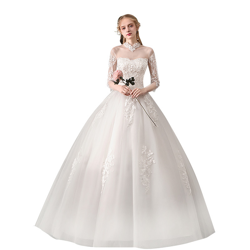 Vintage Chinese Style High Neck Half Sleeve Wedding Dress Sexy Illusion Lace Embroidery Beading Princess Plus Size Bride Gown
