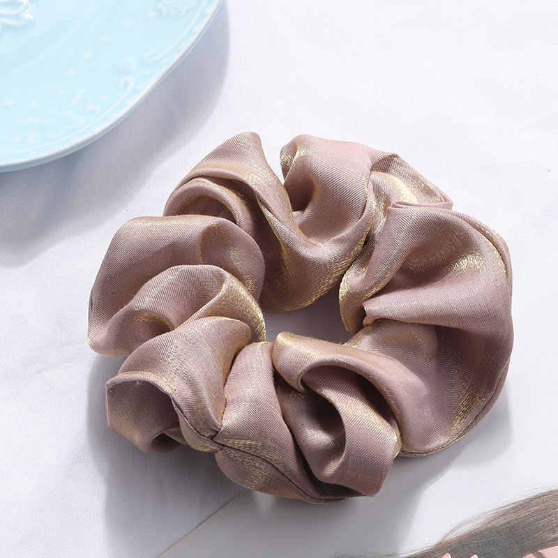 20 สี Soft Silky Hair Scrunchie ผมสำหรับหญิงสาวผมวงยืดหยุ่นสีทึบผู้ถือหางม้าอุปกรณ์เสริมผม