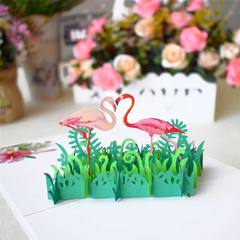 3D Cute Animal Pop Up Cards Happy Birthday Card for Kids Baby Shower Wife Husband Women Cartoon Peacock Birdcage Fish Dog