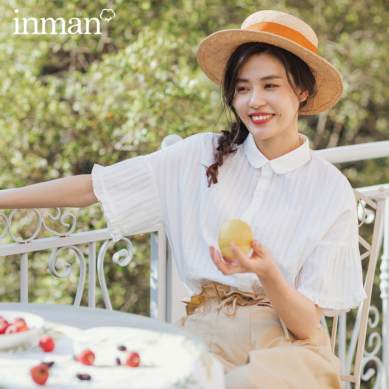 INMAN 2020 Spring New Arrival Cotton Lapel Literary Concise Style Girlish Jacquard Weave Short Sleeve Blouse