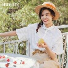 INMAN 2020 ربيع جديد وصول القطن التلبيب الأدبية موجزة نمط البنت الجاكار نسج قصيرة الأكمام بلوزة