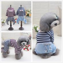 Милая Одежда для маленьких собак для домашних любимцев собак кошек одежда комбинезон для щенка для собак пальто для померанских собак полосатые штаны для четвероногих