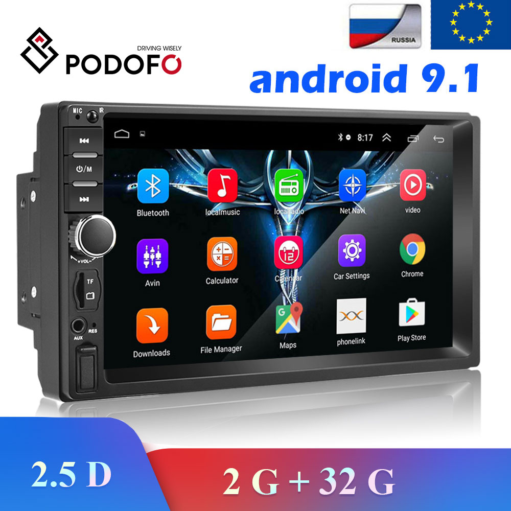 Podofo 2 Din Car Radio Android 8.1 Multimedia Video Player Car Audio Stereo GPS 7