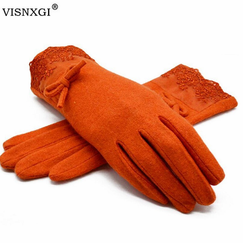 VISNXGI 2020 New Winter Women Warm Gloves Solid Lace Cashmere Gloves Wrist Length Fashion Mittens Gloves Female Women's Gloves