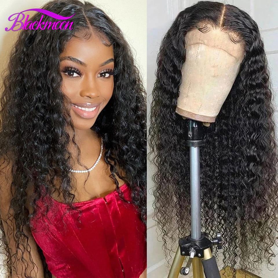 Brasileiro 13x4 profunda onda do laço frente perucas de cabelo humano para preto encaracolado profundo 4x4 glueless fechamento do laço peruca prelucked remy cabelo