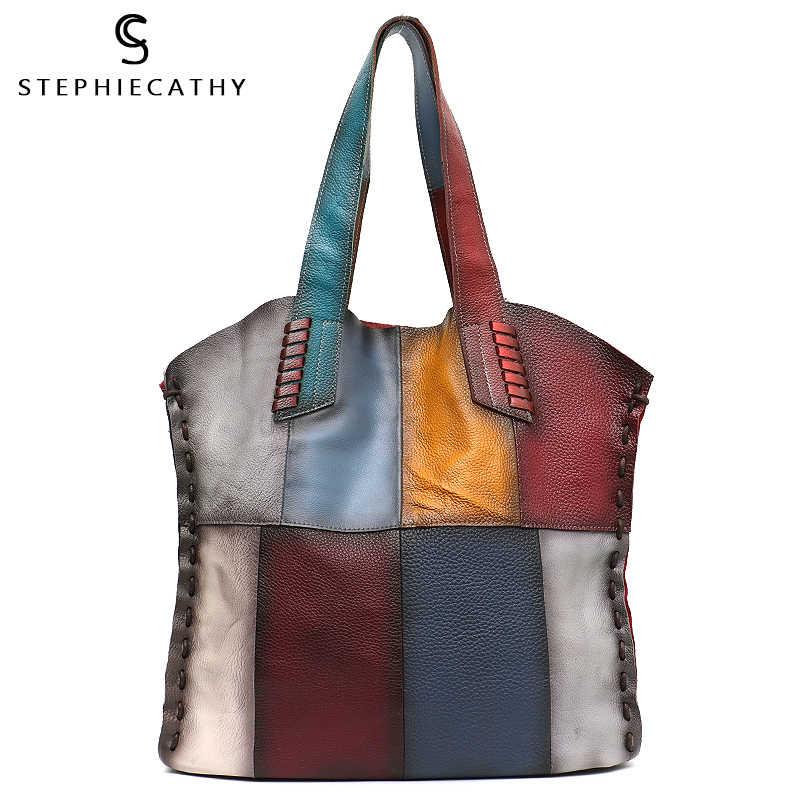 Sc grande bolsa de ombro couro genuíno das mulheres do vintage cor aleatória retalhos tote ladis couro macio casual grande bolsa femal sac
