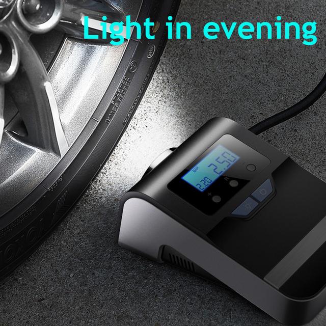 Portable Car Air Compressor Digital Tire Tyre Inflator Pump 12V with Bright Flashing Light, Pressure Gauge 150Psi