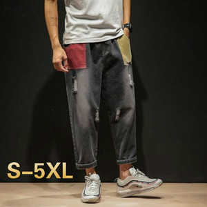 Men Jeans Straight Plus-size 5XL Japanese-style Hole Ripped Hip-hop Stylish Patchwork Loose Trousers Mens All-match Fashion Chic