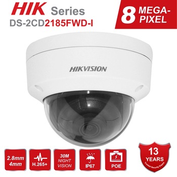 Hikvision 8MP POE IP Camera DS-2CD2185FWD-I Outdoor 4K Network Dome security CCTV Camera SD card 30m IR H.265+ hikvision 1080p waterproof bullet ip camera ds 2cd1023g0 i camera 2 megapixel cmos cctv ip security camera poe outdoor