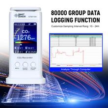 Portable CO2 Monitor Gas Data Recorder Carbon Dioxide Detector Air Quality 20000ppm Temperature