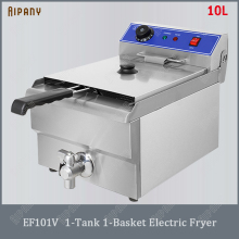 EF101V electric deep fryer with basket thermostat 10L/16L/20L/32L countertop chips chicken fryer frying machine df5g free standing electric temperature controlled commercial deep donut large capacity chicken chip fish fryer with basket