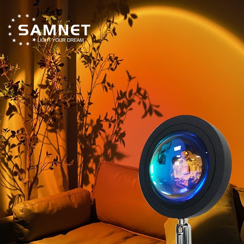 Sunset Projection Night Lights Live Broadcast Background Like Galaxy Projector Atmosphere Rainbow Lamp Decoration For Bedroom 1