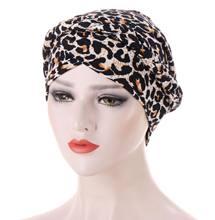 Leopard print milk silk lace muslim turban scarf for women islamic inner hijab caps Arab wrap scarves musulman turbante mujer
