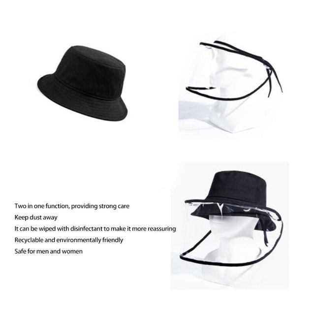 2020 New Unisex Women Men Fashion Outdoor Protection Hat Anti Saliva Hat Full Face Shield Bucket Hats with Clear Mask 4