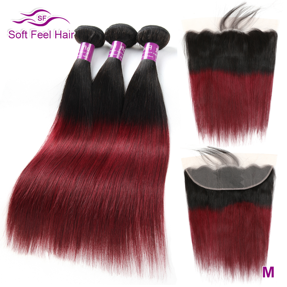 Brazilian Straight Hair Bundles With Frontal Remy 99J Burgundy Ombre Human Hair Bundles With Lace Frontal Closure Soft Feel Hair