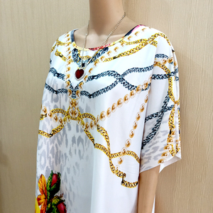 Image 3 - 2019 New Arrivals African Dashiki Flowers Pattern Print Dress Short Sleeve Casual African Dresses For Women