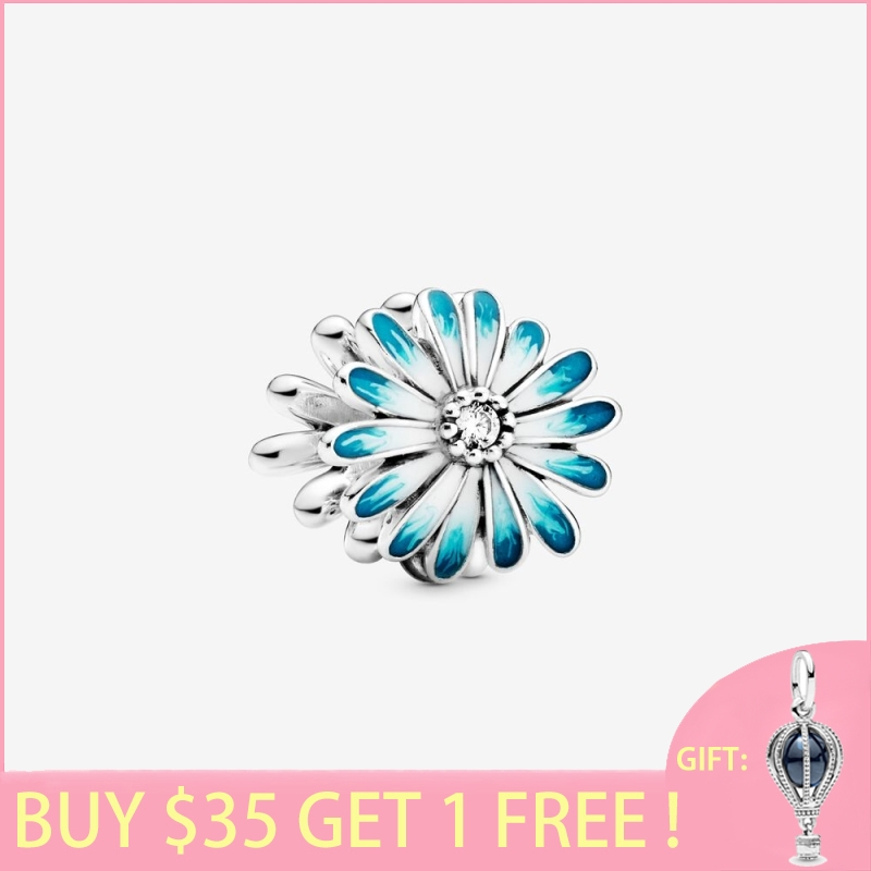 2020 New Arrival S925 Sterling Silver Beads Blue Daisy Flower Charms fit Original Pan