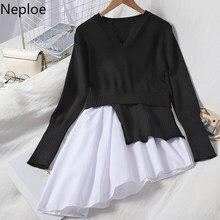 Neploe coreano blusas retalhos pulôver camisola irregular manga longa puxar femme 2021 mulher roupas de malha plissado topos