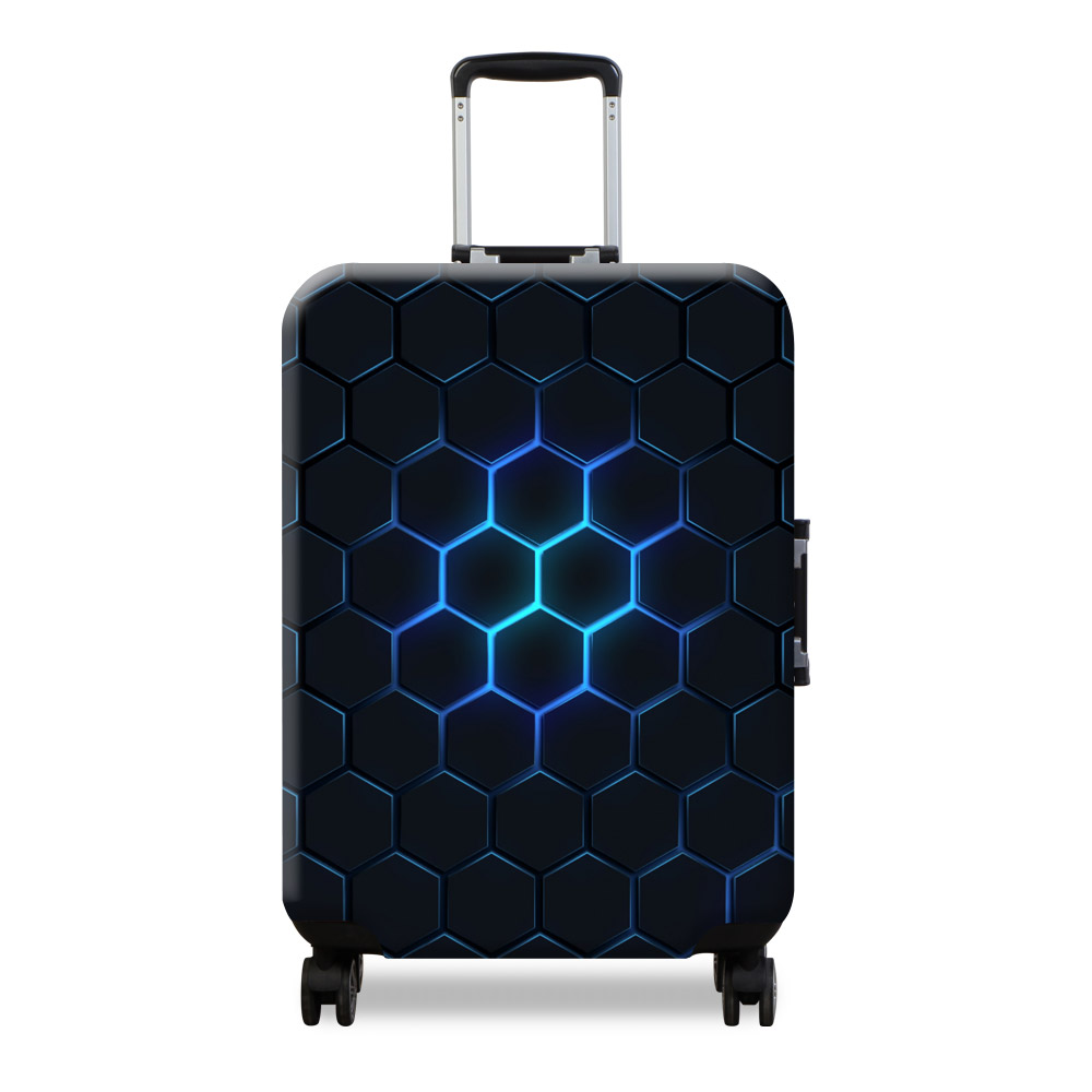 Baggage Covers Yellow Sunflower Geometric Black Washable Protective Case