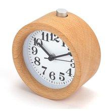 Wooden Clock New Modern Wood  Desk Alarm Clock Table Decor Handmade Classic Small Round Wood Silent Clock Desk Lamp for Home 3 5 inch student classic metal bell alarm clock silent sweep retro needle table clock backlight quartz mini desk clock