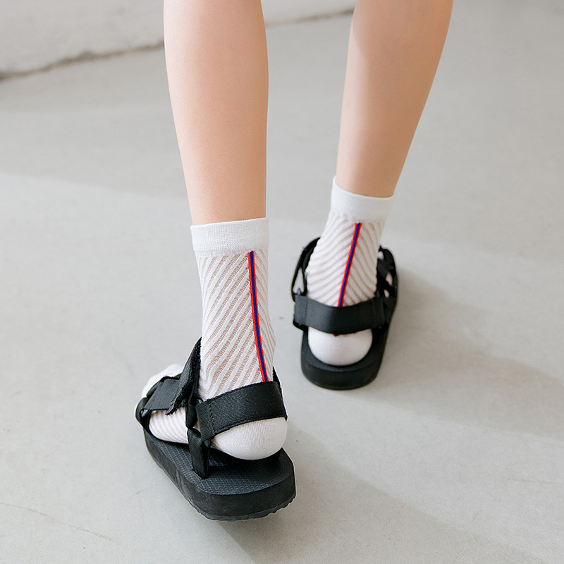 Women's Fashion Socks 2020 New Color Long Thin Socks Women Breathable Striped Transparent Korea Style Women Socks High Quality