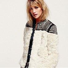 Wool Fur coat Women 2020 New Winter Long sleeve Beading Patchwork Thick Warm Jacket Faux Rabbit Fur jacket Female Outerwear