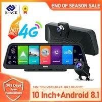 E-ACE Auto Dvr Kamera 4G 10 Inch Android 8,1 GPS Navigation FHD 1080P Auto Kamera Video Recorder ADAS remote Monitor Dash Cam