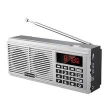 L 518 lettore musicale digitale MP3 altoparlante Mini portatile Mini scansione automatica FM AM MW ricevitore Radio (argento)