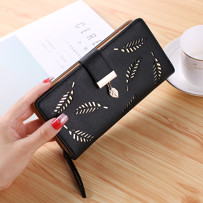 2020 nuove Donne Coreane di Modo Lungo Del Raccoglitore del Sacchetto di Frizione Hollow Foglia Cerniera Fibbia Portafogli Supporto di Carta Bello Borse Piccola Borsa