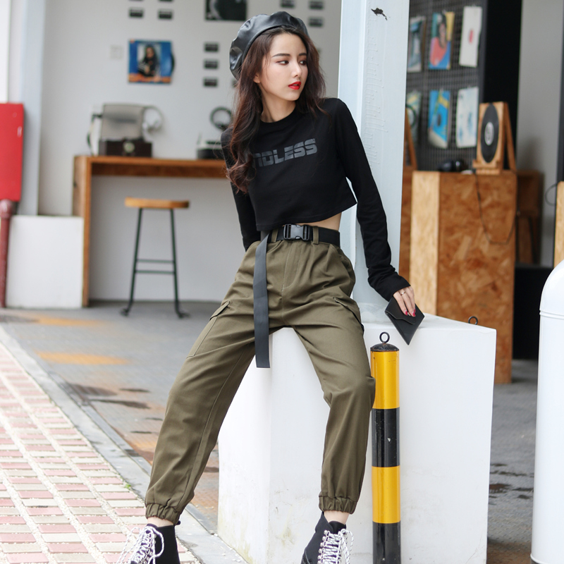 Women Fashion Streetwear Cargo Pants Army Green Ankle Length Joggers Female Loose Trousers Casual Plus Size Korean Style Pants title=