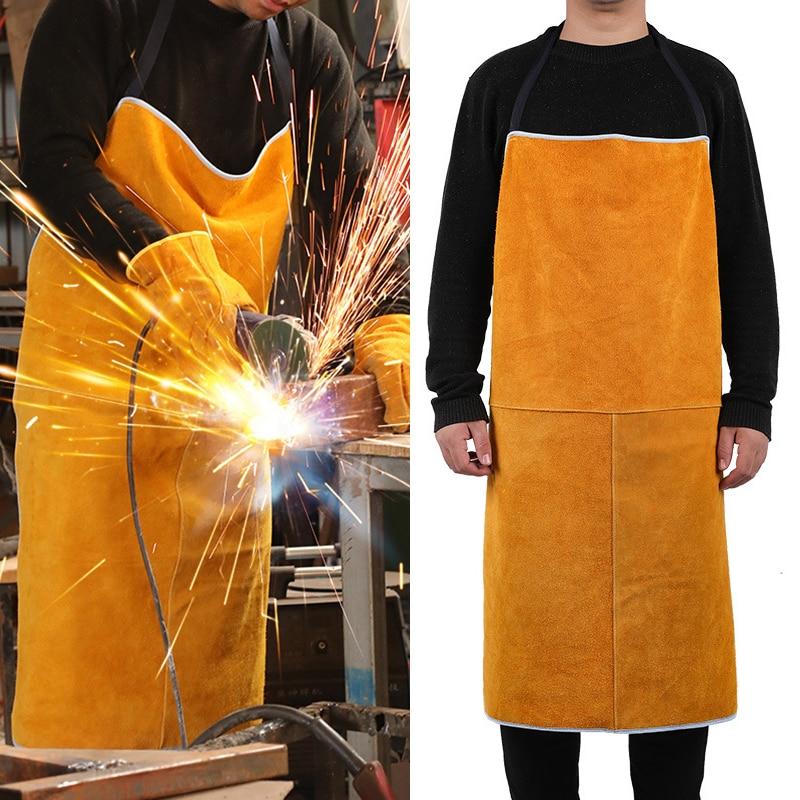 Welding Apron Heat Insulation PU Leather Welder Protection Carpenter Fireproof