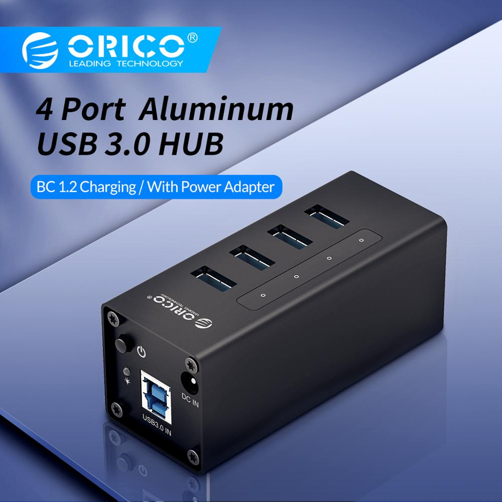ORICO USB HUB Support BC1.2 Charging Aluminum 4 Port USB3.0 Splitter with 12V2A Power Adapter for MacBook Laptop PC Accessories