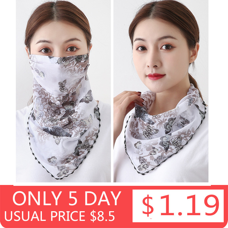 Silk Scarf Mask Protective Outdoor Handkerchief Lightweight Hot-Sell