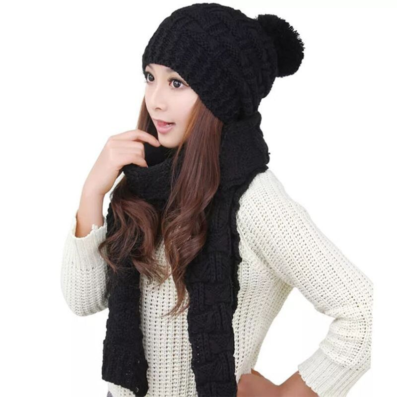 Women Winter Crochet Knit Hat Scarf Set Solid Color Pompom Beanie Cap Neck Shawl Y1AC