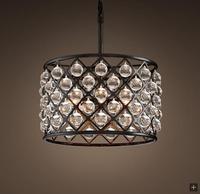 미국 농촌 복고풍 산업 스타일 원형 크리스탈 유리 연성이 철 샹들리에|dining room lamp|hanging lamplamp industrial -