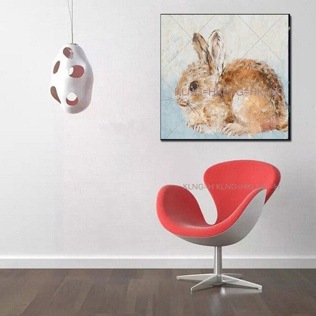Peinture animale sur la toile | Belle boîte de peinture à lhuile de lapin squashy, ornement des beaux animaux, décoration pour chambre à coucher et hall dhôtel