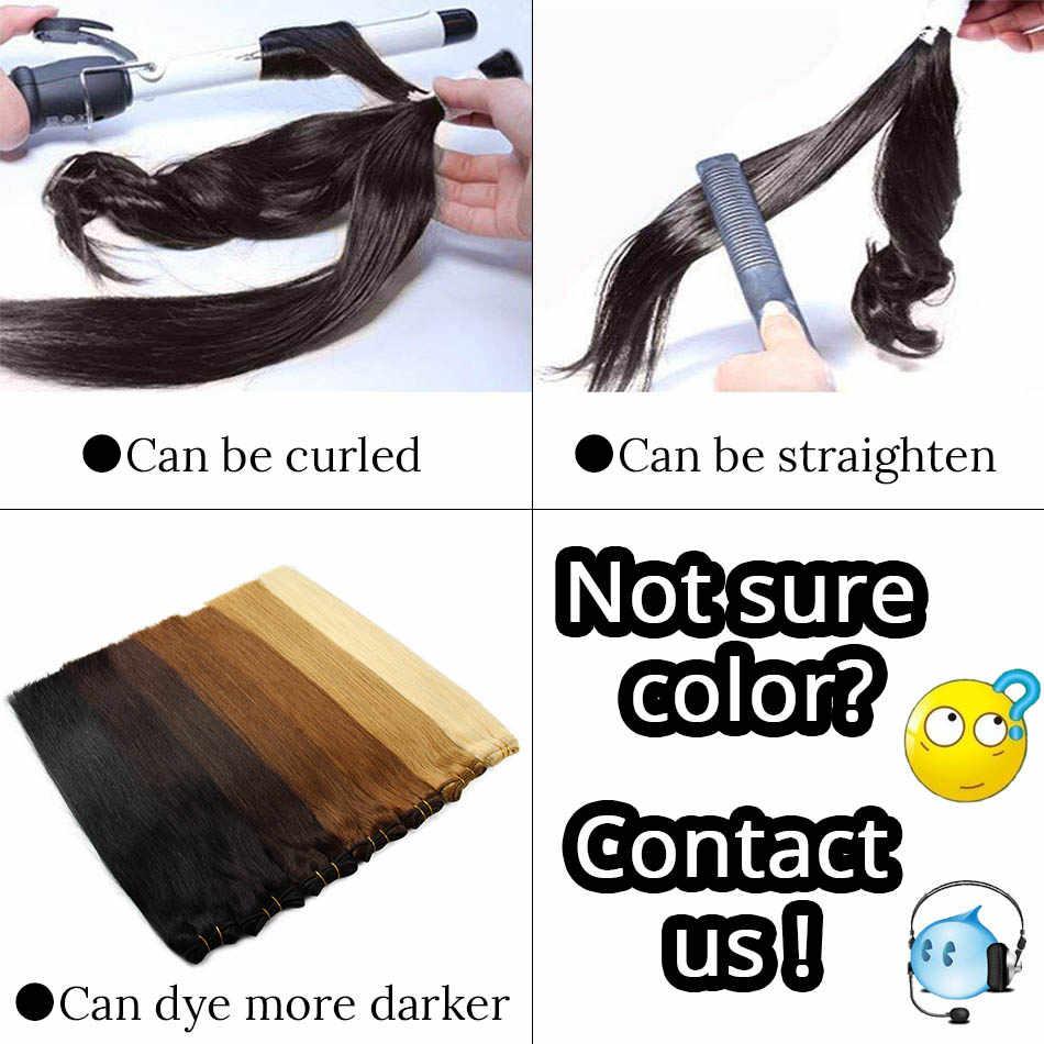 Extensiones de pelo liso hechas a máquina Remy Paquete de pelo humano rubio platino Natural negro cosido en trama 12 16 20 24 pulgadas