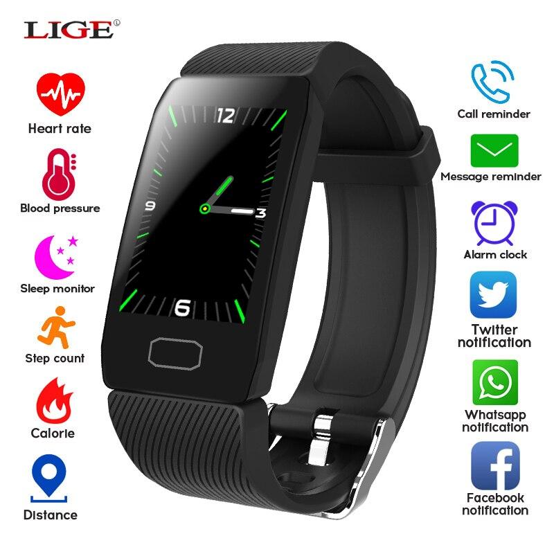 Pulsera deportiva LIGE Monitor de presión arterial Frecuencia Cardíaca reloj inteligente de salud IP67 rastreador de Fitness impermeable Pulsera inteligente