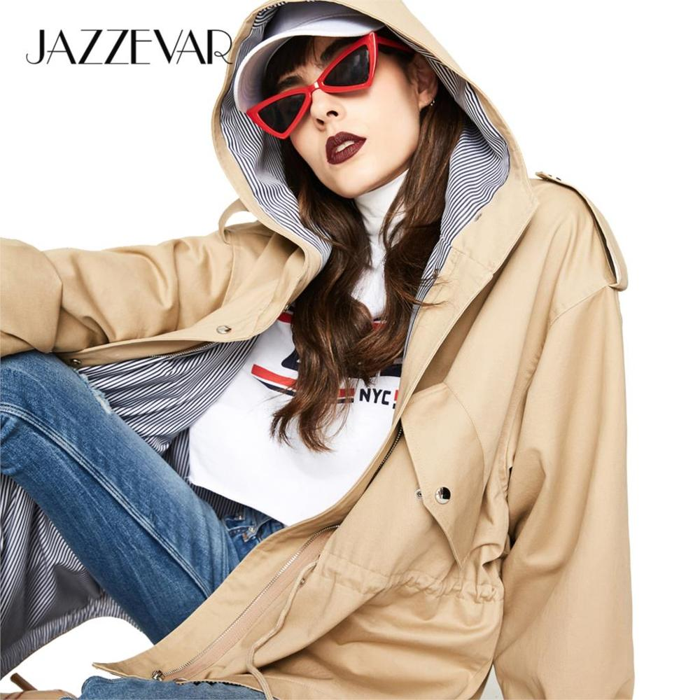 JAZZEVAR 2019 Autumn New Casual Women's Cotton X-Long Hooded Trench Coat Loose Clothing Oversized Outerwear Good Quality