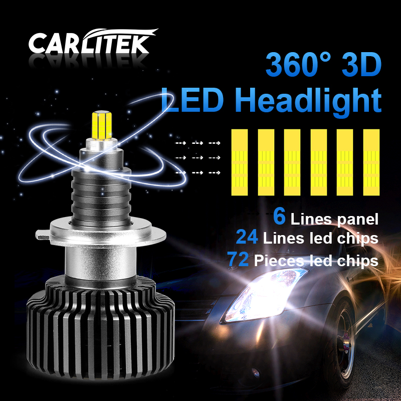 CARLitek 24 Sides H7 LED Bulb 50W H4 18000LM 12V Auto Light 72 PCS CSP Chips HB4 HB3 LED 9005 9006 Car Headlight H8 H11 Led Lamp