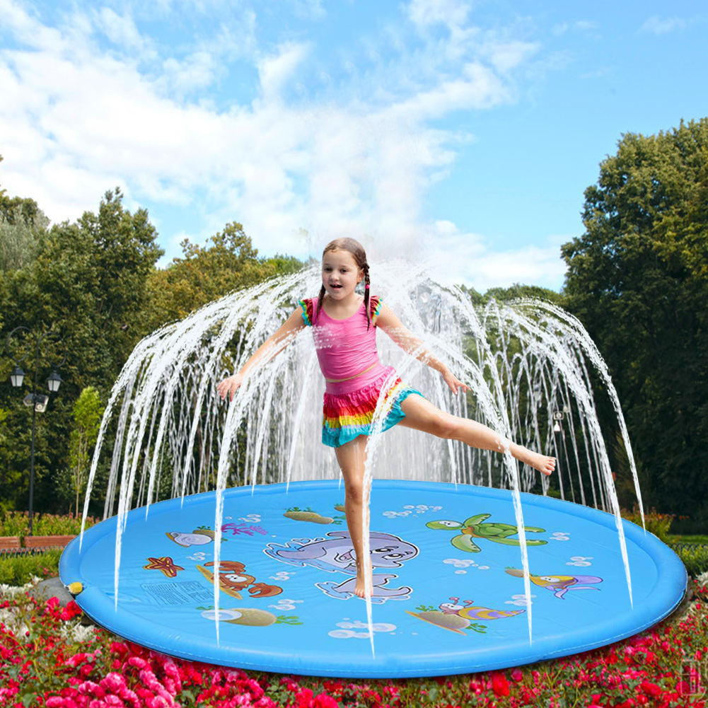 Children Play Water Mat Games Beach Pad Children Baby Play Game Outdoor Inflatable Spray Water Sprinkler Cushion Mat Toys