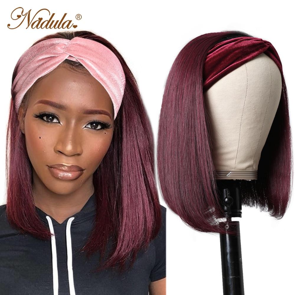 Nadula Short Bob  Wigs #1B99J Burgundy Headband Wig  10-14INCH BoB Headband Wigs for Women Natural Short Wig 1