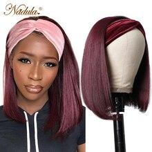 Игрока Nadula короткий боб парики из натуральных волос на кружевной основе # 1B99J бордовый парик с головной повязкой человеческие волосы 10-14 дюй...