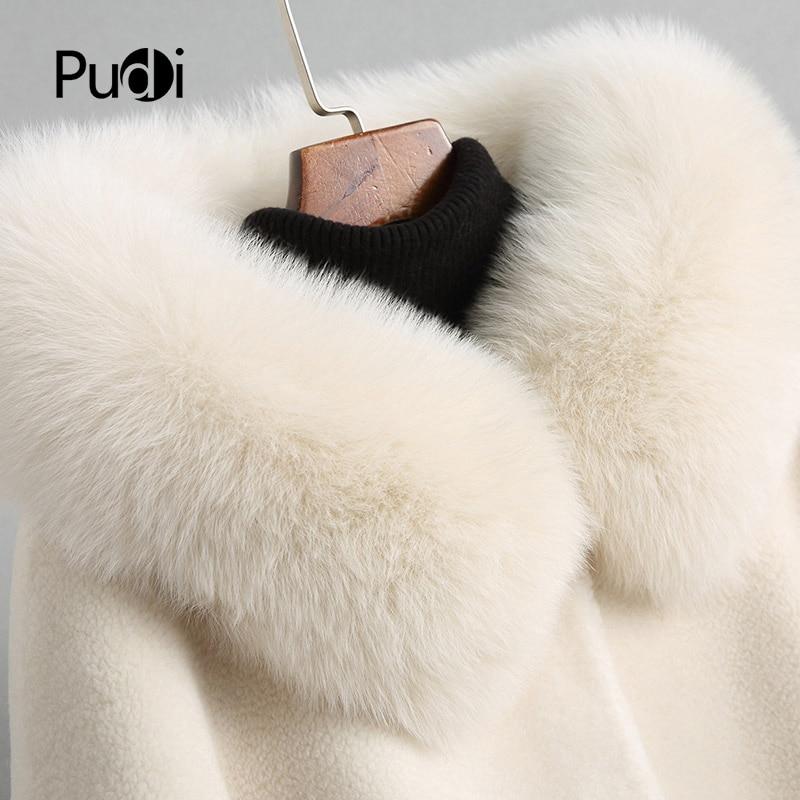 PUDI A18113 damski zimowy ciepły płaszcz futrzany wełniany ponad rozmiar parka z kołnierz z prawdziwego futra lisów lady damskie płaszcze kurtka ponad rozmiar parki