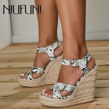 NIUFUNI Plus Size 42 Ladies Wedge Sandals Platform Snakeskin