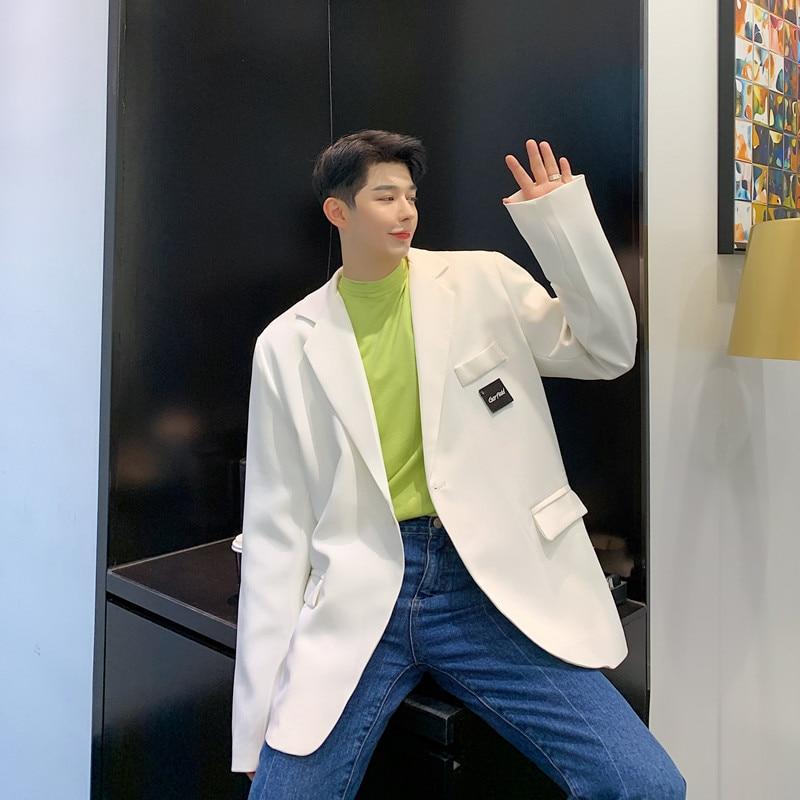 Men Vintage College Style Casual White Suit Blazer Jacket Overcoat Spring Autumn Male Women Streetwear Suit Coat Outerwear