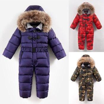 Детский Зимний лыжный костюм на температуру до 30 градусов Пуховый комбинезон для мальчиков, теплое длинное пальто для девочек цельный пухо