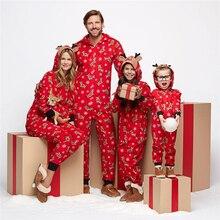 Рождественские одинаковые рождественские пижамы для всей семьи; комплект пижам с капюшоном и принтом оленя; Модный повседневный костюм; одежда для сна; подарки