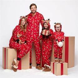 Рождественские одинаковые рождественские пижамы для всей семьи; комплект пижам с капюшоном и принтом оленя; Модный повседневный костюм; од...