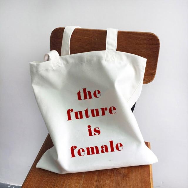 Ladies Handbags Girl Power Quotes Canvas Tote Bag Shopping Travel Women Eco Reusable Shoulder Shopper Bags High Capacity 4